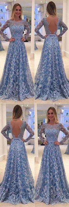 Prom Dress With Sleeves #PromDressWithSleeves, Lace Prom Dress #LacePromDress, A-Line Prom Dress #ALinePromDress Prom Dresses 2019