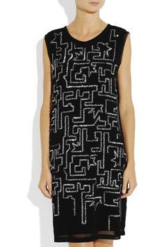 Sequined chiffon shift dress