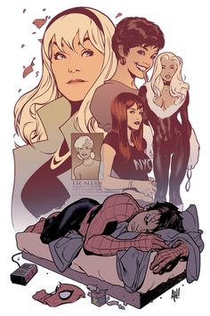 Spider-Man and his women (Gwen Stacy, Betty, Black Cat, Liz Allen and of course MJ) by Adam Hughes.