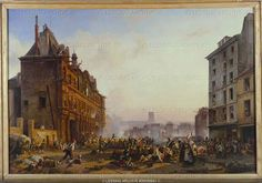 """The 28th July 1830 at the Hotel de Ville,Paris. """"Les Trois Glorieuses"""" (the three glorious days July 27,28 and 29th)   ended the brief Bourbon restauration and established King Louis-Philippe's """"July Monarchy"""".            By Joseph Beaume and Camille Mozin. Canvas"""