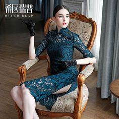 希区瑞普 高端女装 原创进口蕾丝透视改良中长款修身旗袍F0243