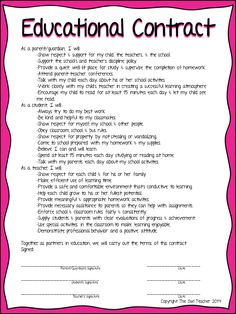 An educational contract between the teacher, student and parent.  Work as a team together!