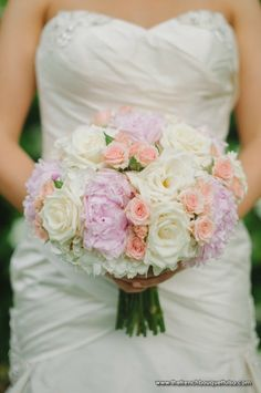 Absolutely Beautiful Bridal Bouquet Showcasing: White Hydrangea, White Roses, Pastel Pink Spray Roses + Pastel Lavender-Pink Peonies