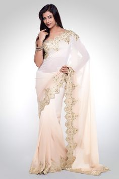 poly georgette zardosi embroidered beaded saree -