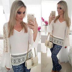 2016 Women Chiffon Shirt Blouse Ladies White V-neck Sexy Hollow Long Sleeve Shirts Office Lady Shirt Plus Size alishoppbrasil
