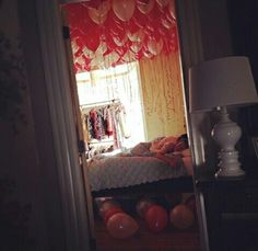 Sneak in and place these balloons above your bed for your partner to wake up too, they'll'll love it!