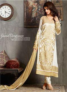 White Georgette Designer Salwar Kameez #Salwars #SalwarKameez #SalwarSuits #DesignerSalwarSuits #OnlineSalwarShopping