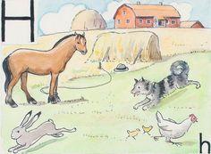 Swedish alphabet card by Elsa Beskow Learn Swedish, Elsa Beskow, Alphabet Cards, Farm Animals, Childrens Books, Moose Art, Drawings, Illustrations, Illustration