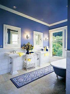 Royal blue and yellow bathroom.