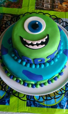 Mike & Sully b day fondant cake