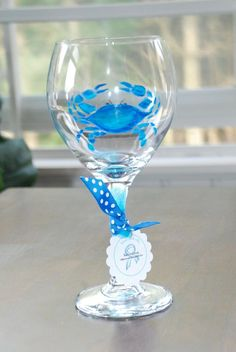 Hand painted Crab Wine Glass- Maryland blue crab-
