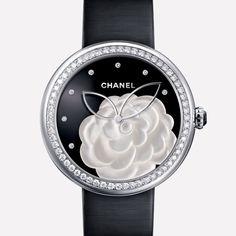 CHANEL - MADEMOISELLE PRIVÉ WATCH - H3096- CAMELLIA SET WITH DIAMONDS, ONYX DIAL, DIAMOND INDICATORS. •$67,100