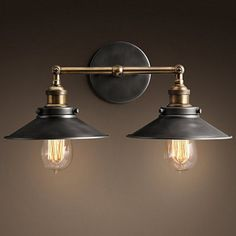 BAYCHEER HL410423 Industrial Edison Vintage Loft Metal Double Rustic Sconce Wall Light Wall Lamp with 2 lights - - Amazon.com