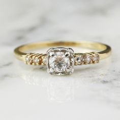 Art Deco .43 Carat Transitional Cut Diamond Engagement Ring