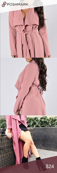 Dark Mauve Coat Ankle Length Duster with Belt Long Sleeve Open Front Made in USA 97% Polyester 3% Spandex. Wore once for picture. New with Tag Fashion Nova Jackets & Coats Trench Coats