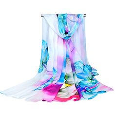GERINLY Chiffon Sarong Wrap: Fresh Zephyranthes Print Oversize Beach Cover Up ** You can find more details by visiting the image link.