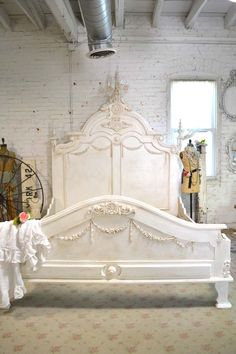 Painted Cottage Shabby Chic French Bed Queen / by paintedcottages Shabby Chic Bedrooms, Shabby Chic Homes, Shabby Chic Furniture, Shabby Chic Decorating, Shabby Chic Bed Frame, Antique Bedrooms, Furniture Dolly, Decorating Tips, Bedroom Furniture