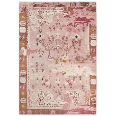 Persian-Style Rug Pink ($899) via Polyvore featuring home, rugs, leaf area rug, pink rug, persian rugs, hand knotted persian rugs and persian style rugs