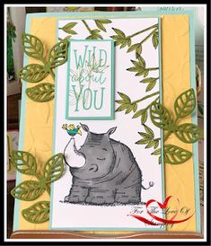 I wanted to show you another adorable sample I made using the Animal Outings stamp set. The rhino was colored with the light smokey slat. Animal Cards, Safari, Stampin Up, Birthdays, Card Making, Scrapbooking, Paper Crafts, Valentines, Wild Animals