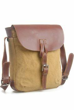 Amazon.com: Vintage Fashionable Canvas Plus Leather Leisure Backpack/Khaki: Sports & Outdoors