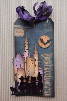 have made this Halloween tag with lots of Tim Holtz products, such as Distress Oxide's, dies, stencils, stamps and tape. The backgro. Halloween Shadow Box, Halloween Tags, Tim Holtz, Card Making Inspiration, Making Ideas, Halloween Paper Crafts, Halloween Painting, Halloween Scrapbook, Paper Crafts Origami