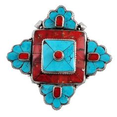 Om Tibetan Jewelry - Flower Sterling Silver, Coral, and Turquoise locket Prayer Box Ghau, $188.00 (http://www.omtibetanjewelry.com/products/flower-sterling-silver-coral-and-turquoise-locket-prayer-box-ghau.html)