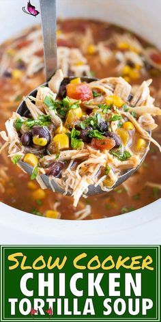 Easy Slow Cooker Chicken Tortilla Soup - Evolving Table Slow Cooker Chicken Tortilla Soup is the best healthy Crock-Pot soup recipe that is quick and easy to make. This authentic Mexican tortilla soup recipe is topped with tortilla chips and creamy avocado for an easy weeknight dinner. #chicken #crockpot #tortillasoup #soup #slowcooker #dinner<br> Slow Cooker Chicken Tortilla Soup is the best healthy Crock-Pot soup recipe that is quick and easy to make. This authentic Mexican tortilla soup… Crock Pot Recipes, Crock Pot Soup, Chicken Tortilla Crockpot Soup, Slow Cooker Recipes Mexican, Crockpot Mexican Chicken Recipes, Healthy Crockpot Chicken Recipes, Authentic Chicken Tortilla Soup, Easy Healthy Crockpot Recipes, Slow Cooker Chicken Tortilla Soup Recipe