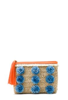 MILLY Pompom Straw Clutch - Natural - One Size