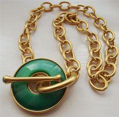 Kenneth Jay Lane Signed Gold Tone Green Enamel Disc T Bar Necklace New QVC | eBay