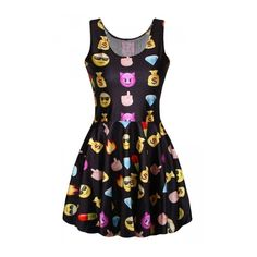 Black Emoji Printed Sexy Fashion Ladies Skater Dress ($15) ❤ liked on Polyvore featuring dresses, sexy dresses, skater dresses, sexy day dresses and sexy skater dresses