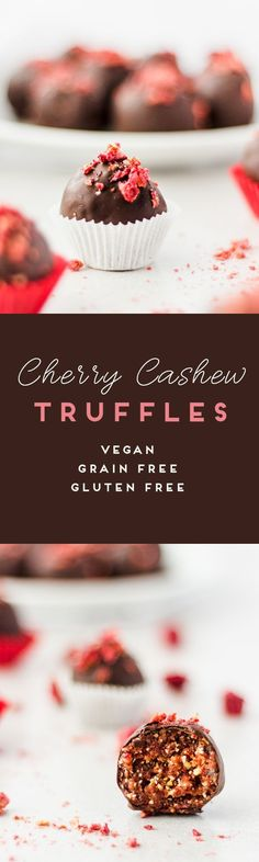 These cherry cashew truffles are made with freeze dried raspberries. They are naturally sweetened with dates and covered in decadent dark chocolate. Raspberry Macaroons, Raspberry Brownies, Raspberry Cookies, Raspberry Buttercream, Raspberry Cheesecake, Chocolate Loaf Cake, Chocolate Oatmeal Cookies, Chocolate Flavors, Dairy Free White Chocolate
