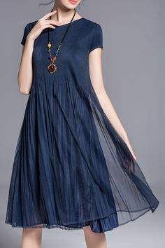 Daipya Deep Blue Pleated Swingy Dress | Midi Dresses at DEZZAL