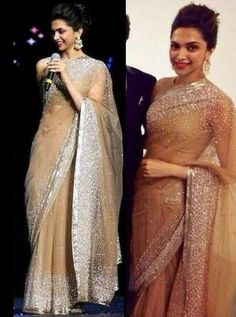 Deepika Padukone in Manish Malhotra// This is the prettiest sari I have seen… Bollywood Designer Sarees, Bollywood Saree, Bollywood Fashion, Indian Dresses, Indian Outfits, Indian Clothes, Deepika Padukone Saree, Mode Shoes, Indian Attire