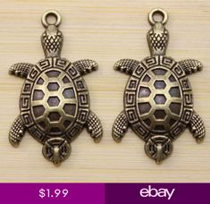 1030100pcs Retro style lovely Good luck bronze tortoise charm pendant 36x21 mm