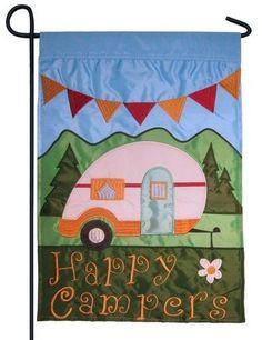 Happy Campers Double Applique Garden Flag