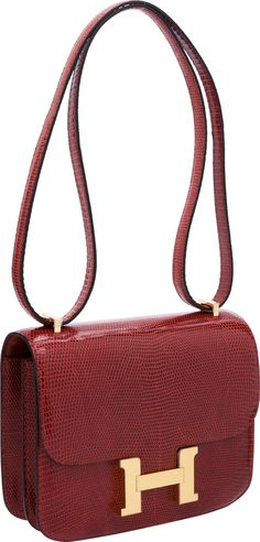 Luxury Accessories:Bags, Hermes 18cm Rouge H Lizard Double Gusset Constance Bag with GoldHardware. ... Image #1