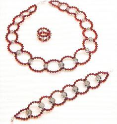 Necklace, bracelet and ring of beads free tutorial