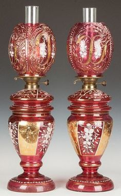 Oil Lamps (2); Victorian, Cranberry Glass, Enameled & Gilded, 25 inch.