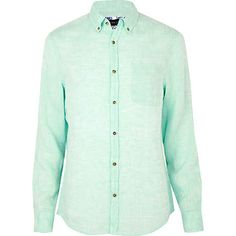 mint green linen shirt - shirts - sale - men - River Island