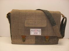 Messenger bag canvas Sleeve  Large Recycled Suit Coat. $120.00, via Etsy.