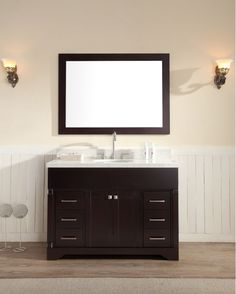 "Ariel M049S Stafford 49"" Free Standing Vanity Set with Wood Cabinet Stone Top Espresso Fixture Vanity Single"