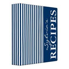 Navy blue and white stripe recipe binder book