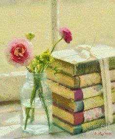 Books And A Rose Painting  - Elizabeth Coats