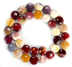 15.5 inch Strand 12mm Natural Red Yellow Mookaite Coin Beads Strand Beads Autumnal Colors