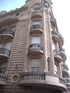 Details of the upper floors of the Palacio Cabanellas, an Art Nouveau (Modernisme) building in Rosario, Argentina (designed 1914, built 1916).