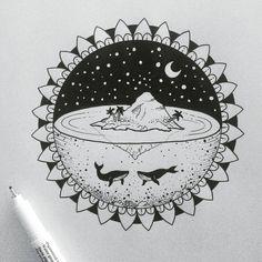 "1,067 Likes, 15 Comments - @alucinori on Instagram: ""#drawing #illustration #mandala #iblackwork #onlyblackart #landscape #tattoopins #blackflashwork…"""