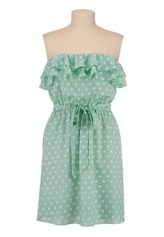 Ruffle Front Dot Print Tube Dress available at #Maurices