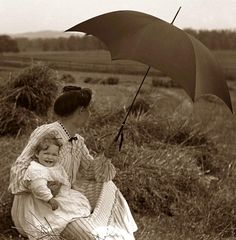 .Woman and child In A Grain Field, 1900's (I love old photos of regular people in the fashions of the day! Look at that adorable baby's smile!)