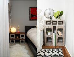 chambres adultes avec tables de chevet DIY en parpaings creux