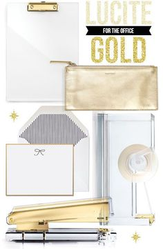 Dress up your desk with these lucite + gold accessories. So chic!
